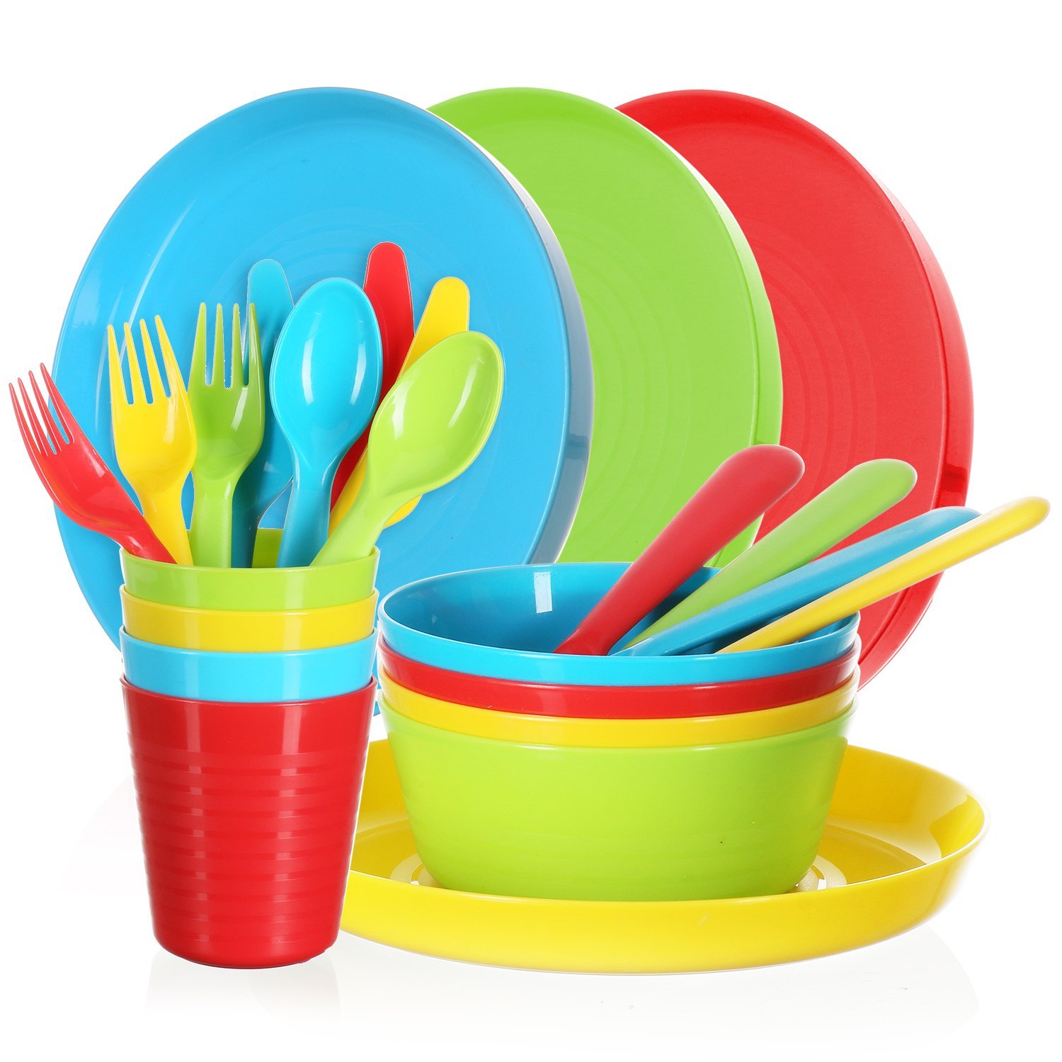 Complete Plastic Dinnerware Cutlery Set - 24 Piece Bright Durable Utensils Dinner Ware for Toddlers & Kids, 4 Plates, Bowls, Cups, Knives, Spoons and Forks - BPA-free, Dishwasher & Mic