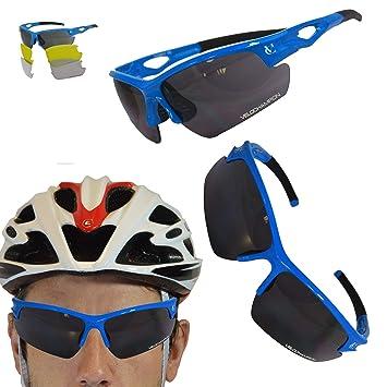 a610b0437a VeloChampion Tornado - Gafas de Sol - Ciclismo Running (3 Juegos de Lentes  Intercambiables y Funda) (Azul): Amazon.es: Deportes y aire libre