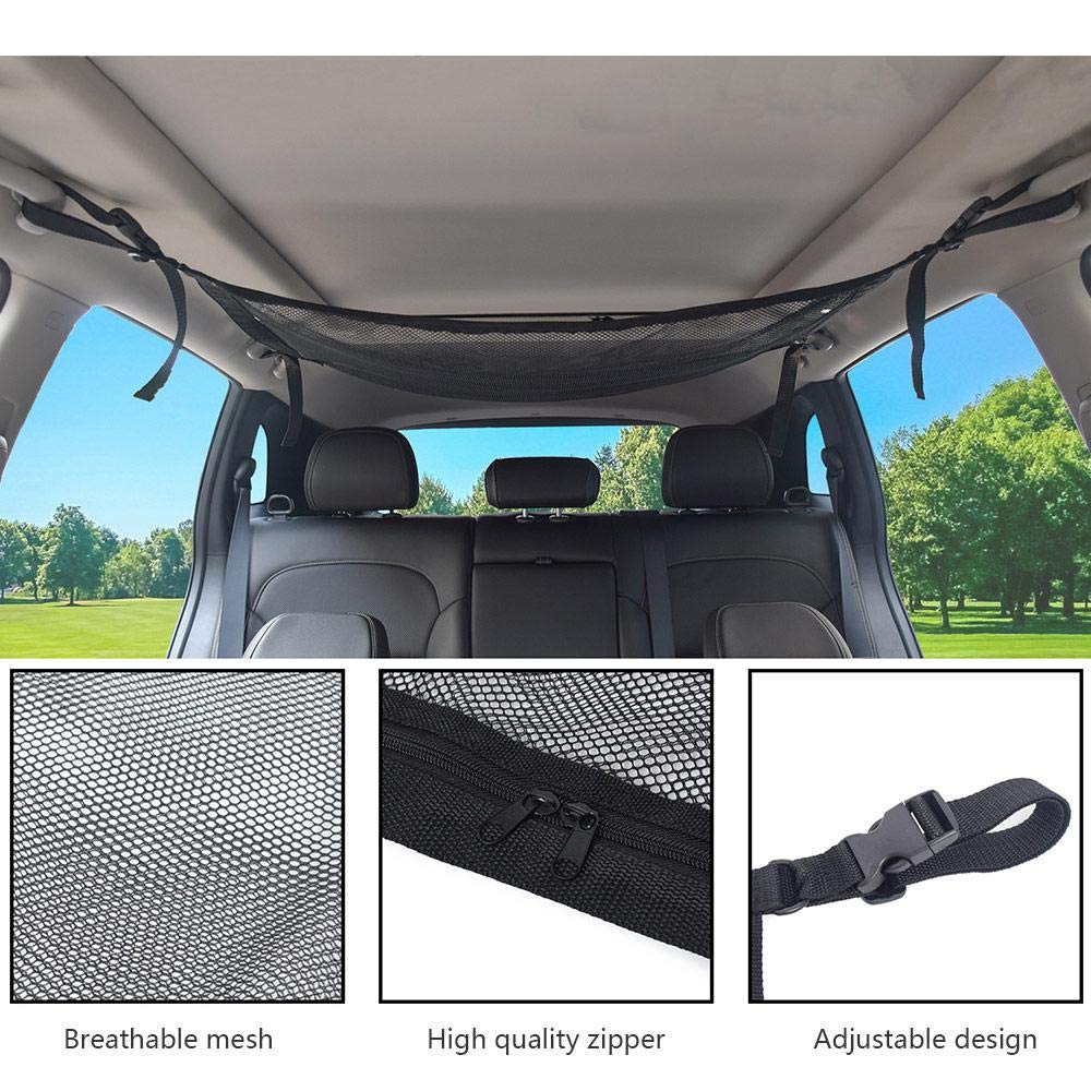 Adjustable Strap Fit for Jeep Van SUV Etc Cargo Net for Car Ceiling Hamkaw Double Layer Mesh Automotive Storage Organizer Auto Interior Roof Sundries Pouch with Zipper 31x21 Inch