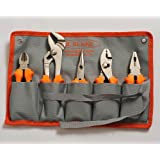 Pliers Set 5 piece - Includes Linemans, Groove Joint Pipe Plier, Diagonals, Needle Nose, Slip Joint | Heavy Rubberized Comfort Grips | Warranted for Life | Storage Sleeve Included