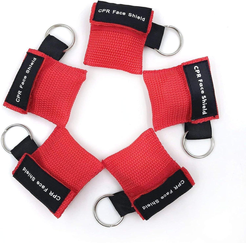 kit de emergencia de Rescate de Rescate de la RCP Juego de 5 llaveros para m/áscara de RCP con barrera de respiraci/ón de v/álvula unidireccional para primeros auxilios o entrenamiento de AED