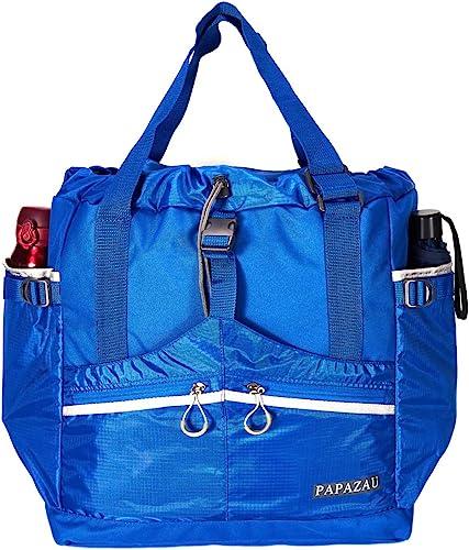 PAPAZAU Rfid Travel Tote Bag 40L Convertible Rpet Tote Backpack Large Beach Gym Tote Bag Blue