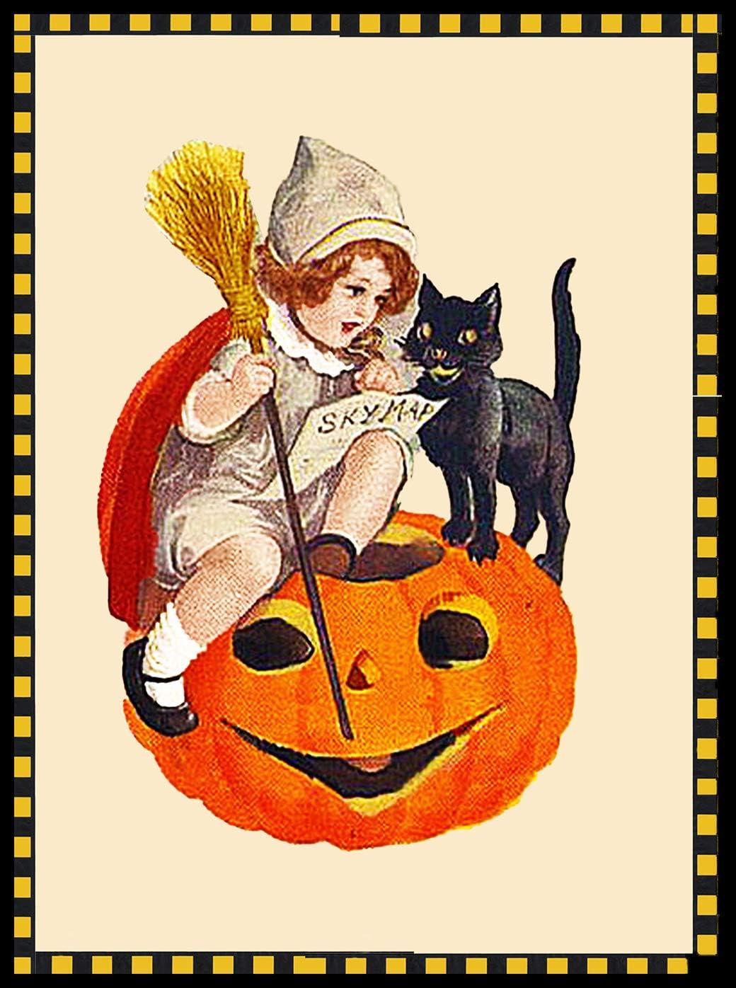 Orenco Originals Girl Black Cat Pumpkin Victorian Halloween Counted Cross Stitch Pat.