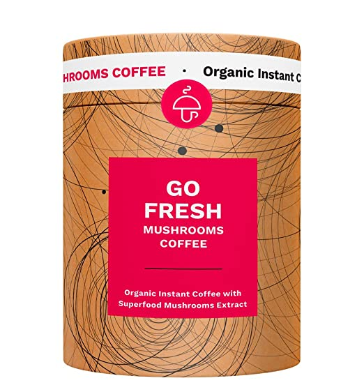 Go Fresh Superfood Instant Mushroom Coffee - 10pk of Wild Mediterranean Chanterelle & Chaga ($1.20 per Serving) for Energy and Focus. Vegan, Organic, Gluten Free, Sugar Free.