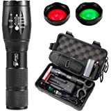 UltraFire A100 Tactical Flashlight, 900 Lumens 5 Modes LED Zoomable Hunting Flashlight Torch with Duty Belt Flashlight Holster, UFB26 Rechargeable Battery, Red/Green/White Exchange Glass