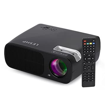 LESHP Mini Proyector LED 1080p HD HDMI / VGA / USB / AV / TV Home Cinema (3200 Lumens, Negro)