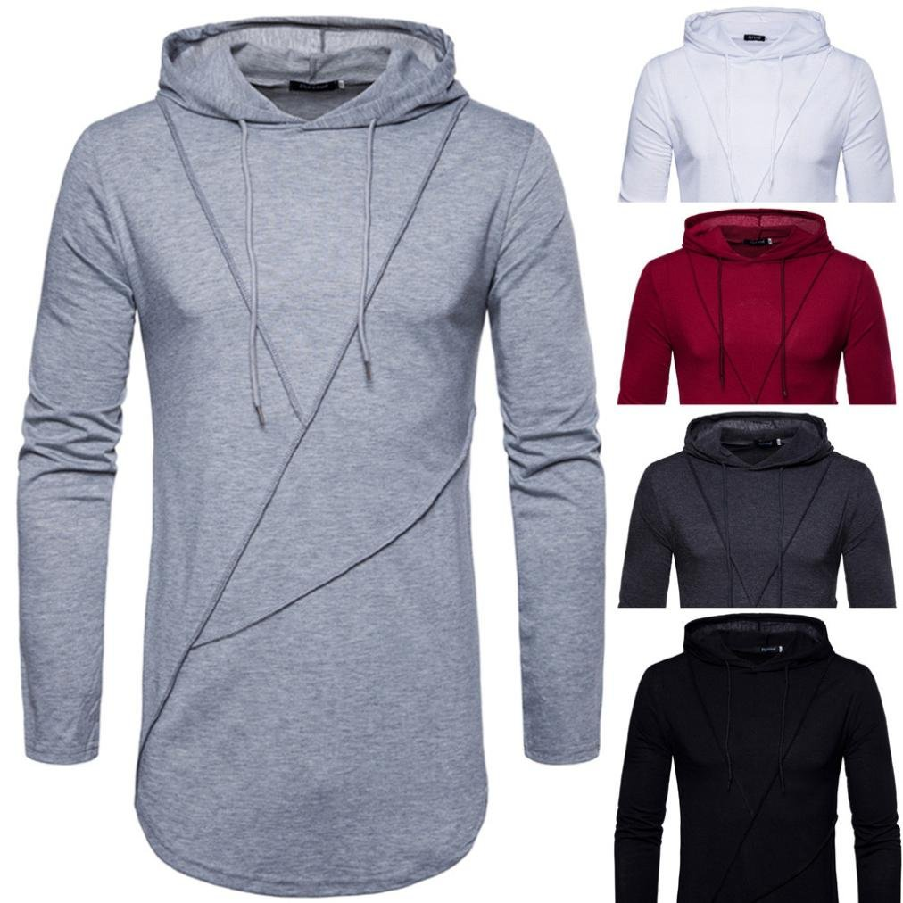 2018 Customized Stylish Autumn Pure Color Joint Long Sleeved Hoodie Sweatshirts Top Blouse Sudadera con Capucha Sudaderas Hombre con Capucha Sudaderas: ...