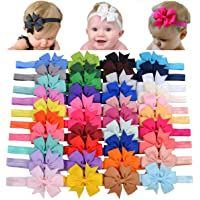 Choicbaby 40 diademas de lazo de grogrén para niñas y bebés, de 3 pulgadas, accesorios para el pelo para bebés recién…