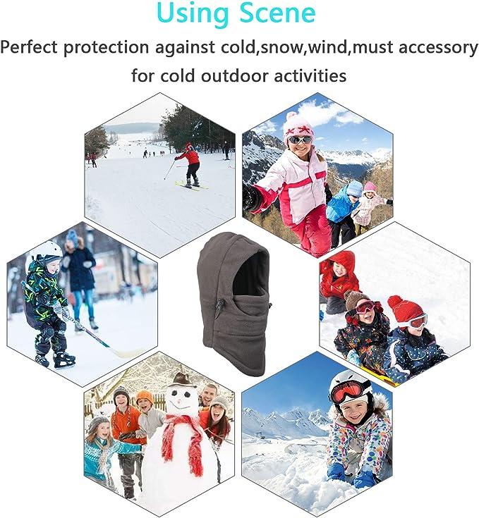 ZoomSky Berretto Balaclavas per Bambini Copriscarpe Antivento Coprispalle Invernali Scaldacollo Sport Outdoor Sci Snowboarding Ciclociclismo Copricapo Rosa