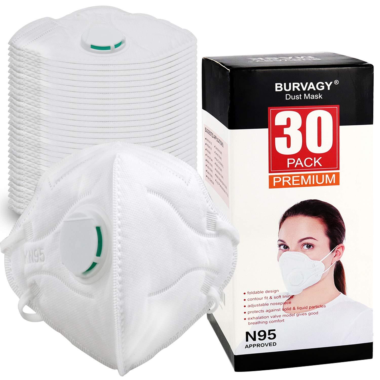 BURVAGY Dust Mask (30 Packs) - NIOSH Certified-N95 Dust Mask Particulate Respirators for Construction, Home, DIY Projects by BURVAGY