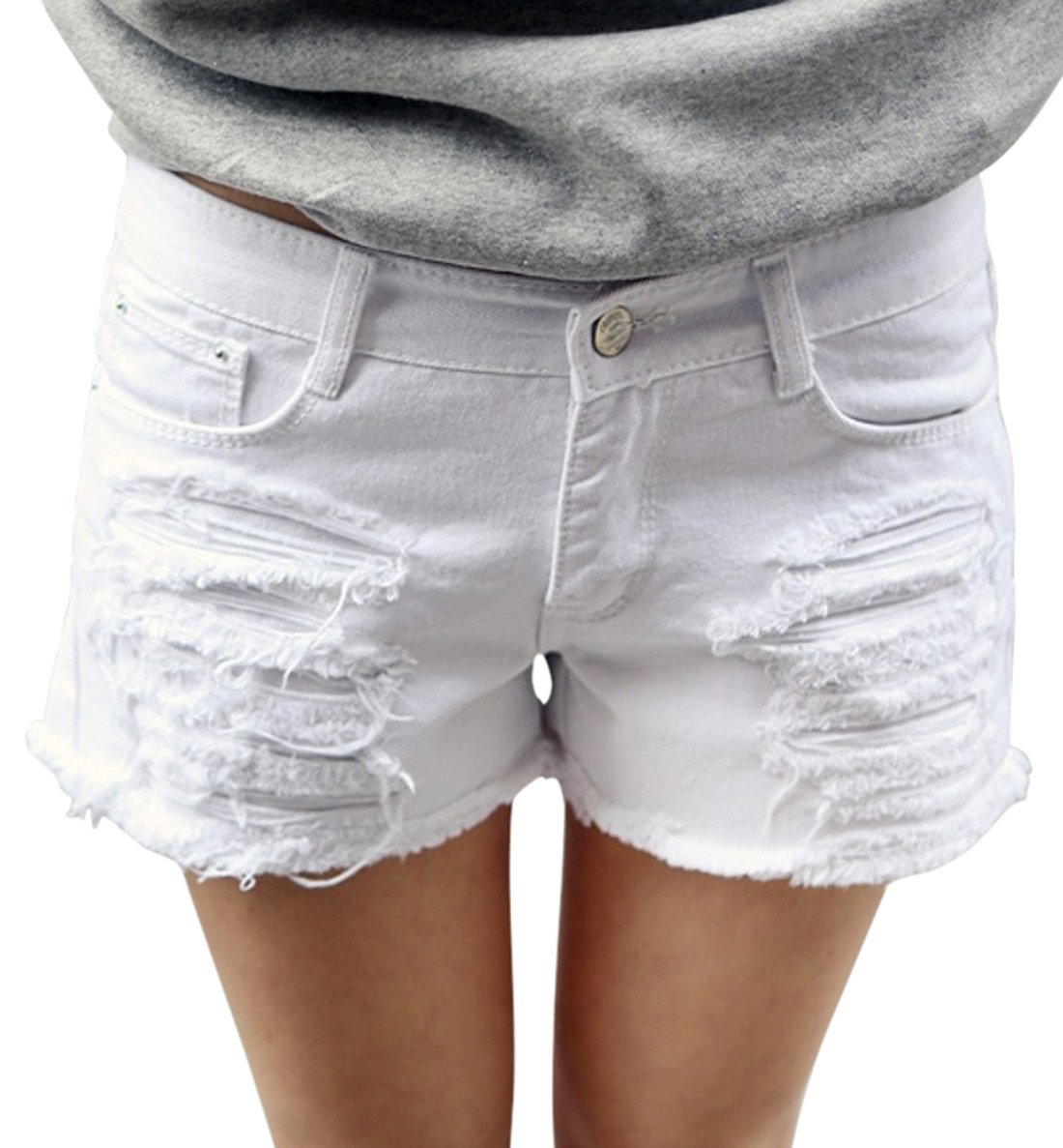 Chouyatou Women's Perfectly Fit 5-Pockets Ripped Denim Jean Shorts (Large, White)