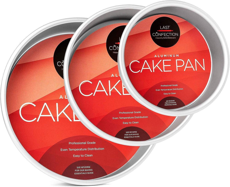 "Last Confection 3-Piece Round Cake Pan Set - Includes 6"", 8"" and 10"" Aluminum Pans 2"" Deep"