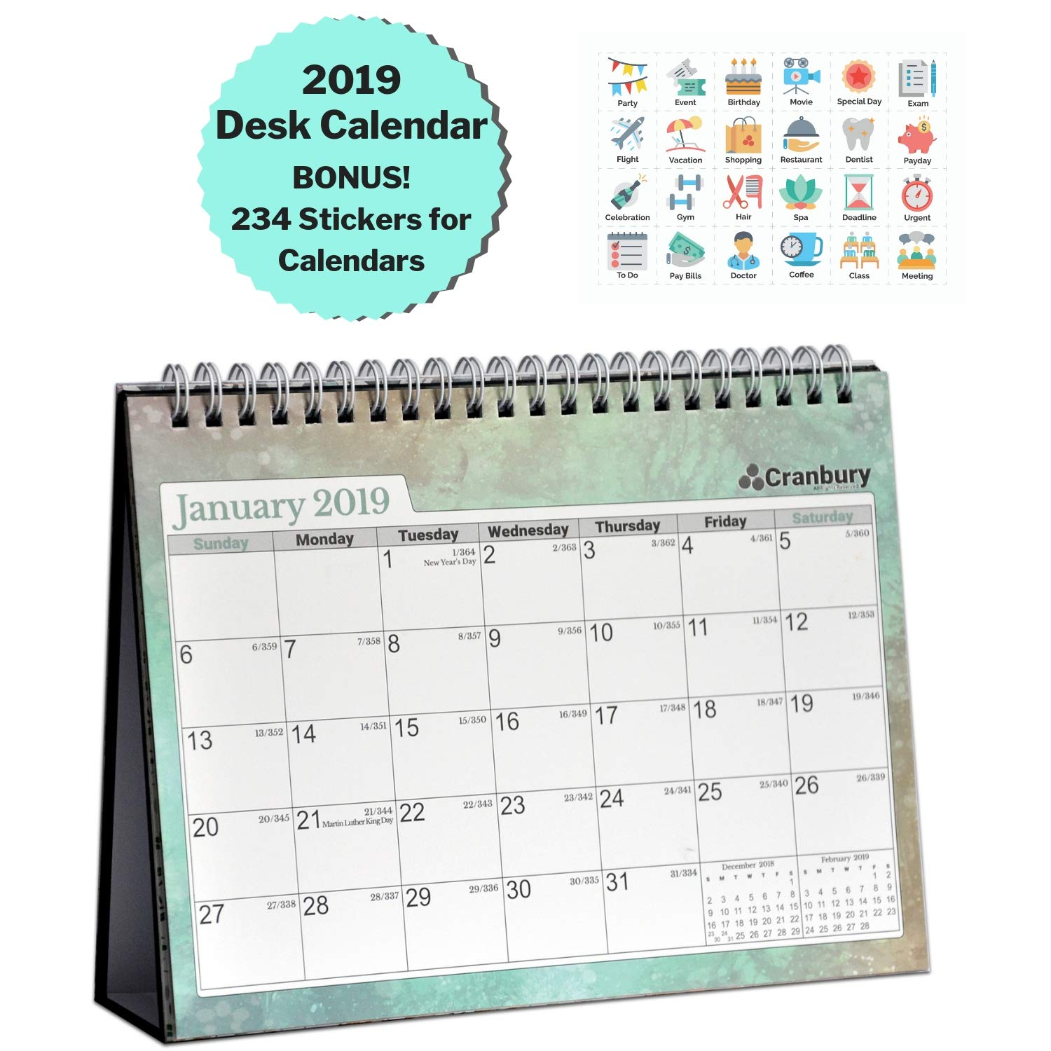 Cranbury Small Desk Calendar 2019 Monthly: Flip Desktop Counter Top Calendars with Bonus Planner Stickers for Family and Office, 8''x6'' (Colorful), Sturdy, USE Now Through December 2019 by Cranbury (Image #1)