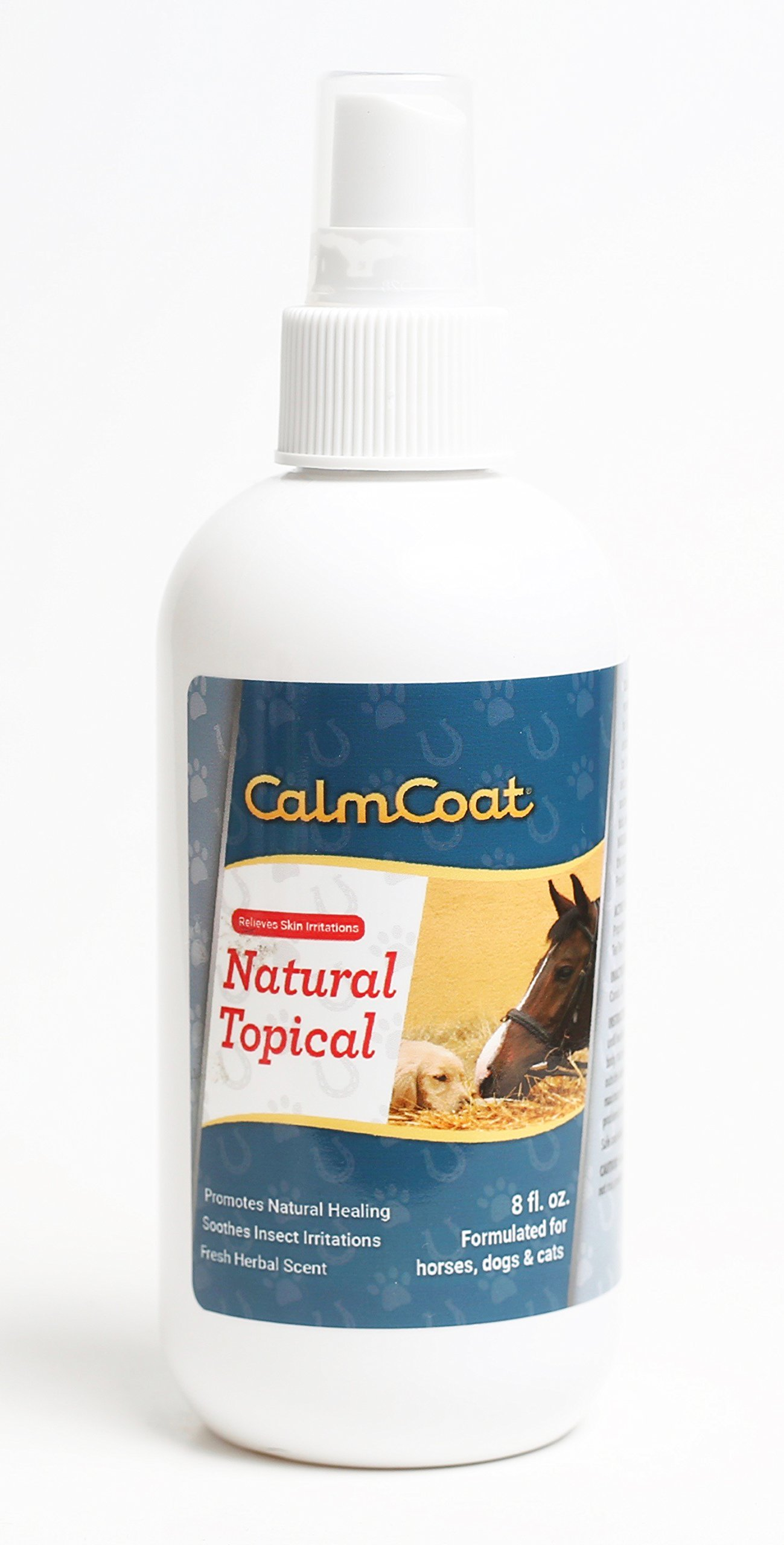 Calm Coat Natural Topical for Horses Dogs & Cats - Natural Oils to Promote Healing & Skin Relief for Irritations - for Cuts, Itchy Hot Spots, Bug Bites - Herbal Scent 8 oz by Calm Coat
