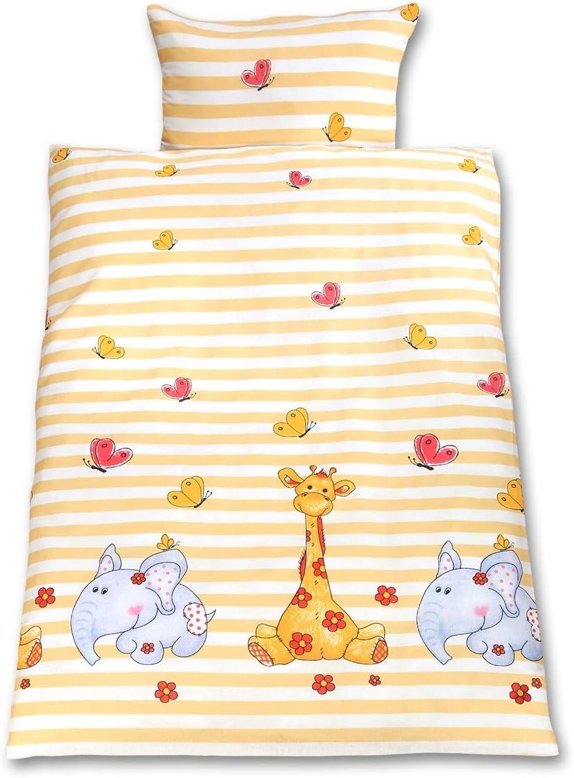 Gräfenstayn® 2 piezas Juego de cama para niños con motivos de animales y cremallera integrada hecha de 100% algodón, funda nórdica de 135x100 cm y funda de almohada de 60 x 40cm (Jirafa & Elefante