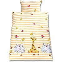 Gräfenstayn® 2 piezas Juego de cama para niños con motivos de animales y cremallera integrada hecha de 100% algodón…