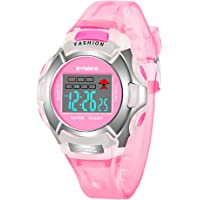 Girls Digital Watch, LUXIONO Waterproof Pink Silicone Sports Chrono LED Light Quartz Watches for Kids