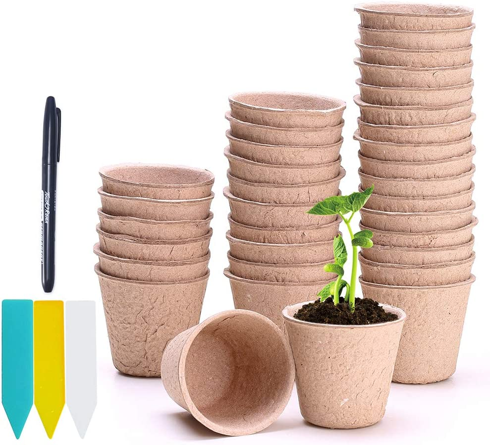 Seed Starter Pots, FANGZHIDI 90 Pack 2 Inches Garden Seedling Plant Peat Cup, 100% Eco-Friendly Organic Biodegradable Germination Pulp Nursery Planter, Indoor/Outdoor, 90 Labels and 1 Mark Pen
