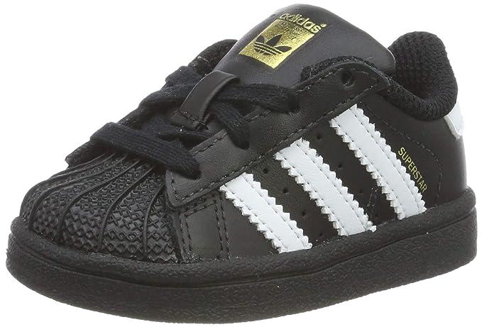 adidas Superstar Sneakers Unisex Baby Schwarz mit weißen Streifen