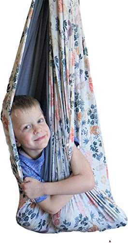 SENSORY4U Sensory Swing Double Layered and Reversible Sloth Print or Gray Fabric Indoor Therapy Swing Snuggle Cuddle Hammock Cacoon