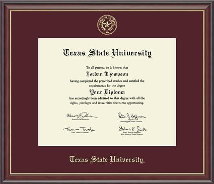 Amazon.com: Texas State University Gold Embossed Diploma Frame ...
