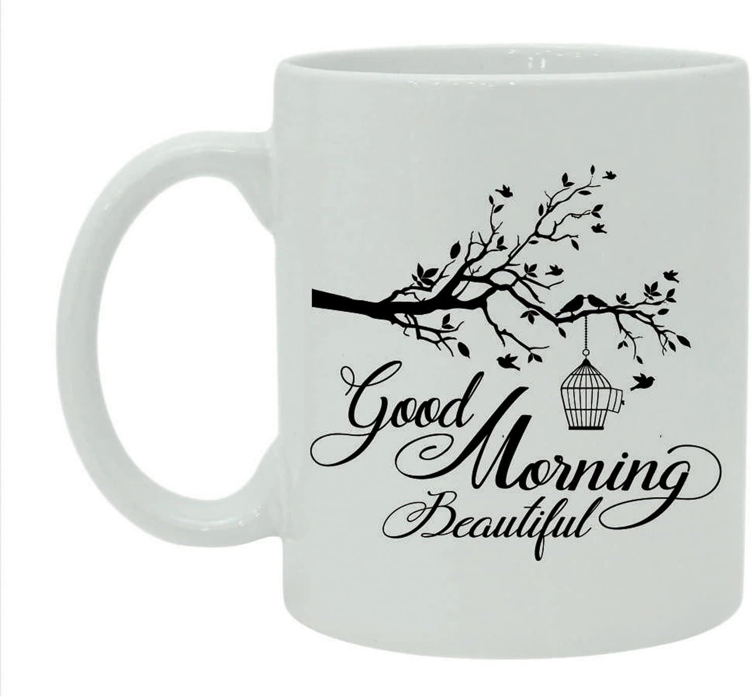 Amazon Com Good Morning Beautiful Coffee Mug Printed Quote White Ceramic Tea Cup With Free Gift Box Kitchen Dining
