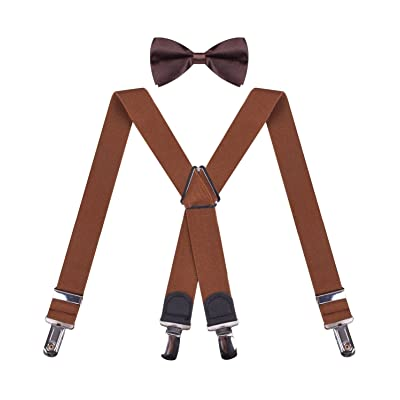 Boy Bow Tie X Back Suspenders for Boys Pre-Tied Kids Bowtie and Suspender Set