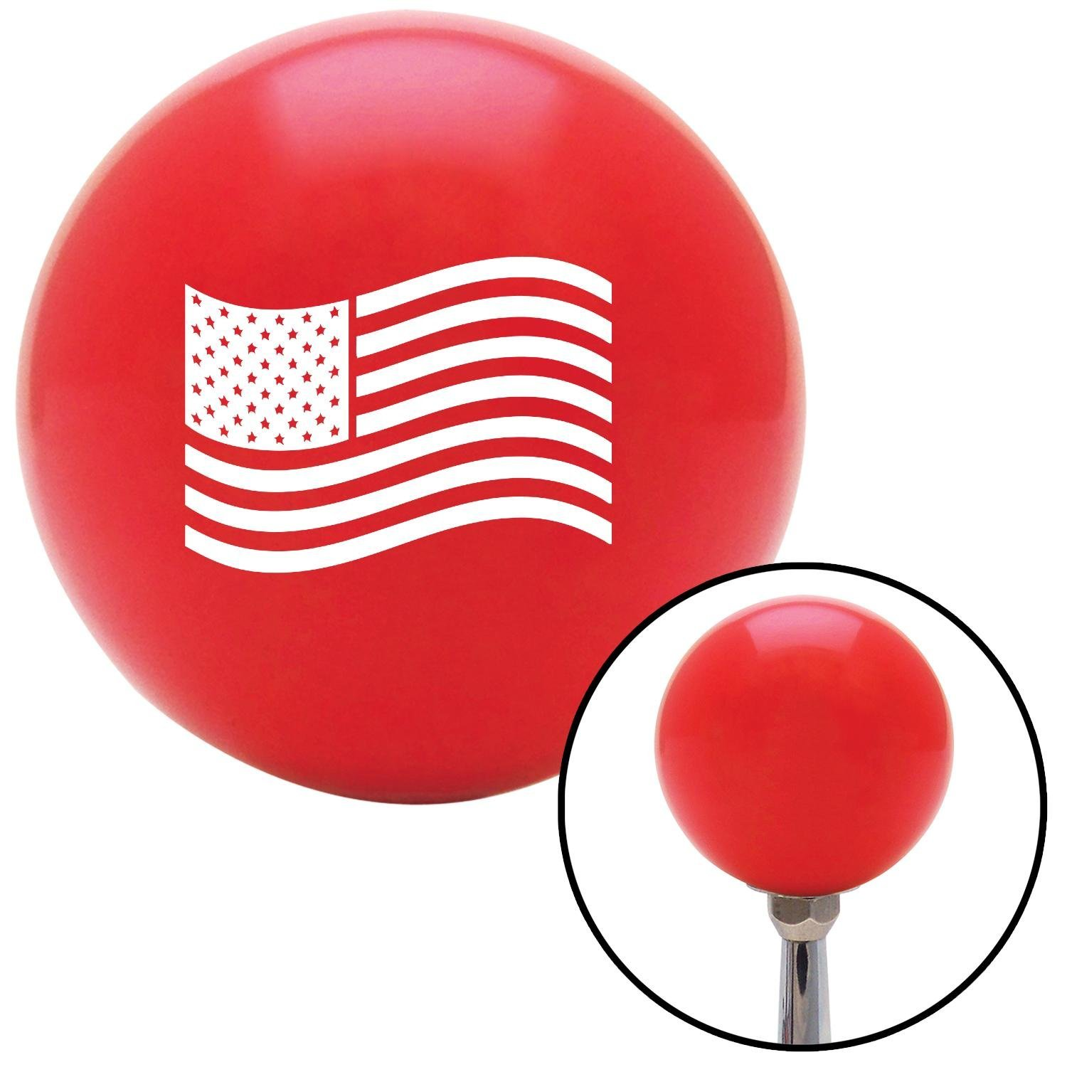 American Shifter 101980 Red Shift Knob with M16 x 1.5 Insert White US Flag