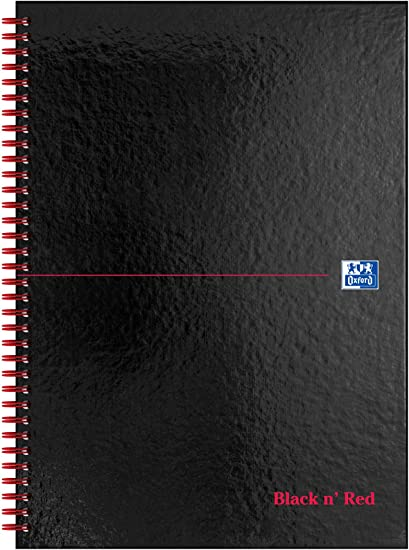A4 Ruled Notebook Notepads Twinwire Bound Spiral Bound Hardback Gloss Black Book