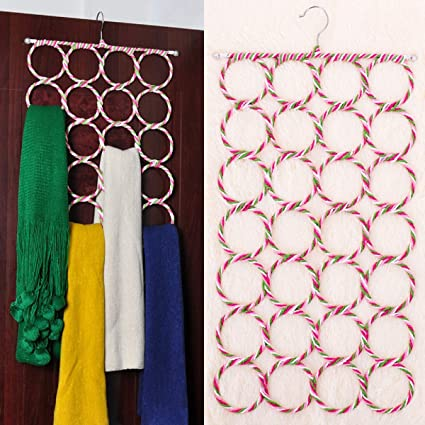 Multi Purpose Rattan Circle Folding Scarf Hanger Tie RackCloset Storage Racks