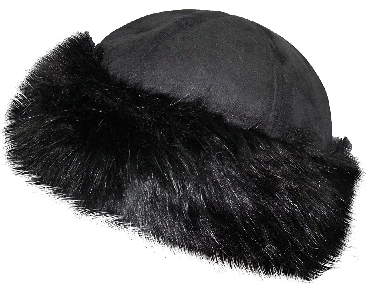 f61118f7d VIZ Ladies Round Faux Fur & Suede Winter Hat - Adjustable - ONE SIZE