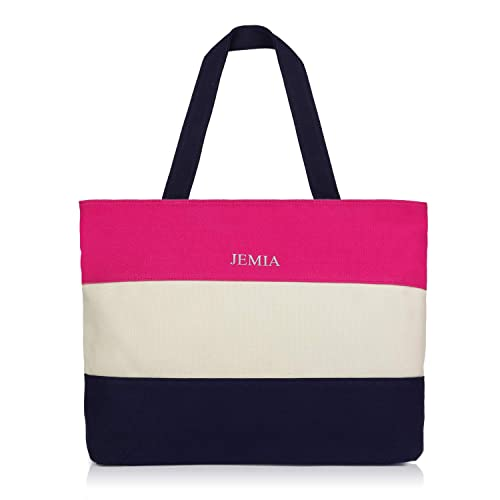 Amazon.com  JEMIA - Canvas Zipper Tote Bag with Striped Color for Women   Shoes 1d891e2938