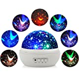 Constellation Night Light Projector, Planetarium Cosmos Star Projector with 360 Rotation Starry Ceiling for Baby Kids Child Bedroom (White Rose)