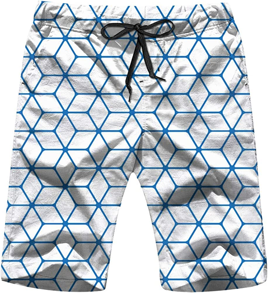 QWESSD Geometric Line Mens Swim Trunks Quick Dry Beach Shorts Swimwear Bathing Suit with Drawstrin
