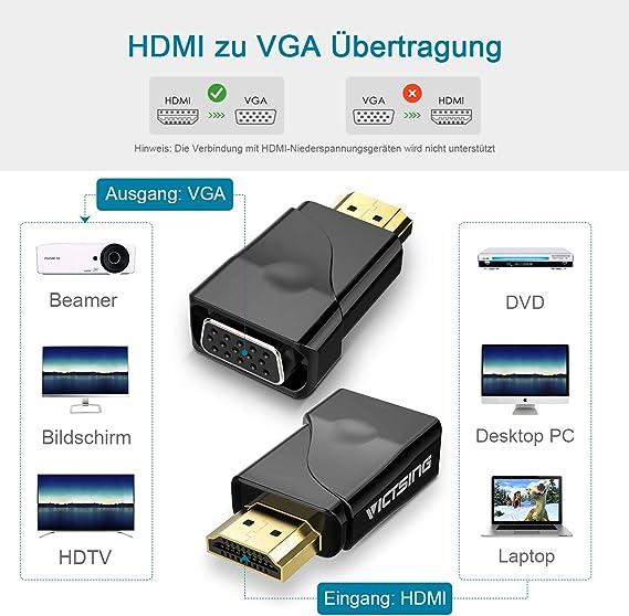 Monitor Xbox kompatibel mit TV PC HDMI zu VGA Adapter Chromebook und mehr Konverter Laptop Stecker zu Buchse Projektor USB C zu VGA f/ür 1080P Active HDTV