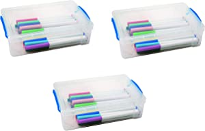 "Super Stacker Large Pencil Box, 9"" x 5.5"" x 2.63"", Clear, Sold as 3 Pack (37539)"