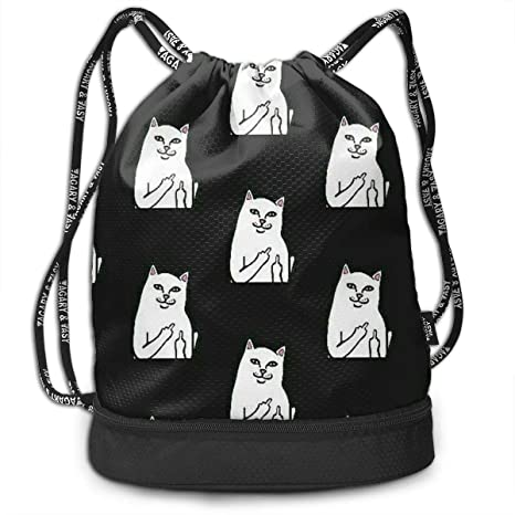 1e4ea28b7370 Amazon.com: HUOPR5Q Middle Finger Cats Drawstring Backpack Sport Gym ...
