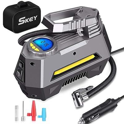Skey Air Compressor Tire Inflator - Electric Auto Pump 12V DC Portable Air Compressor Pump Digital Tire Inflator Car Tire Pump: Home Improvement