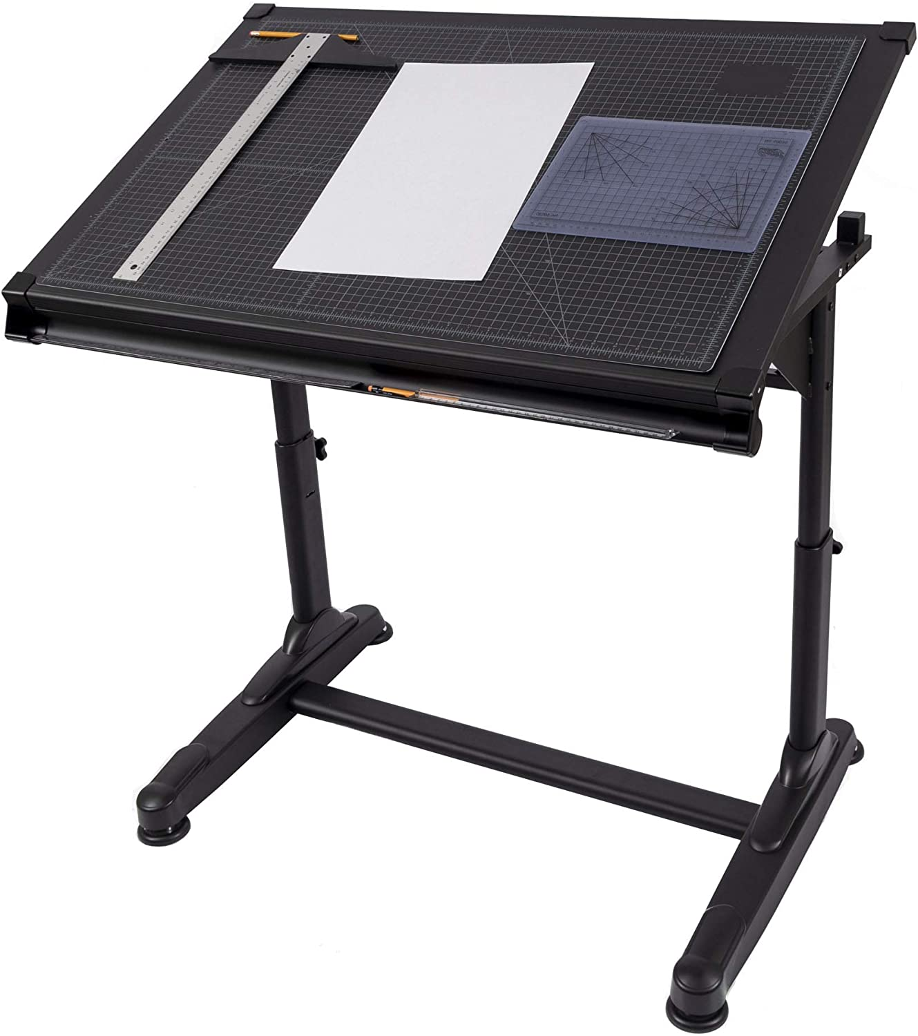 Stand Up Desk Store Height Adjustable Drawing and Drafting Table with 39.2 W x 27.5 D Surface, Black