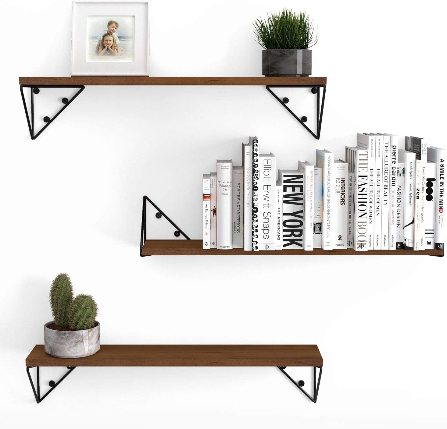 Wallniture Pigna Floating Shelves for Living Room Wall Decor, Bookshelf and Shelving Unit for Organization and Storage, Walnut Rustic Wood Shelf Set with Triangle Shelf Brackets, Set of 3