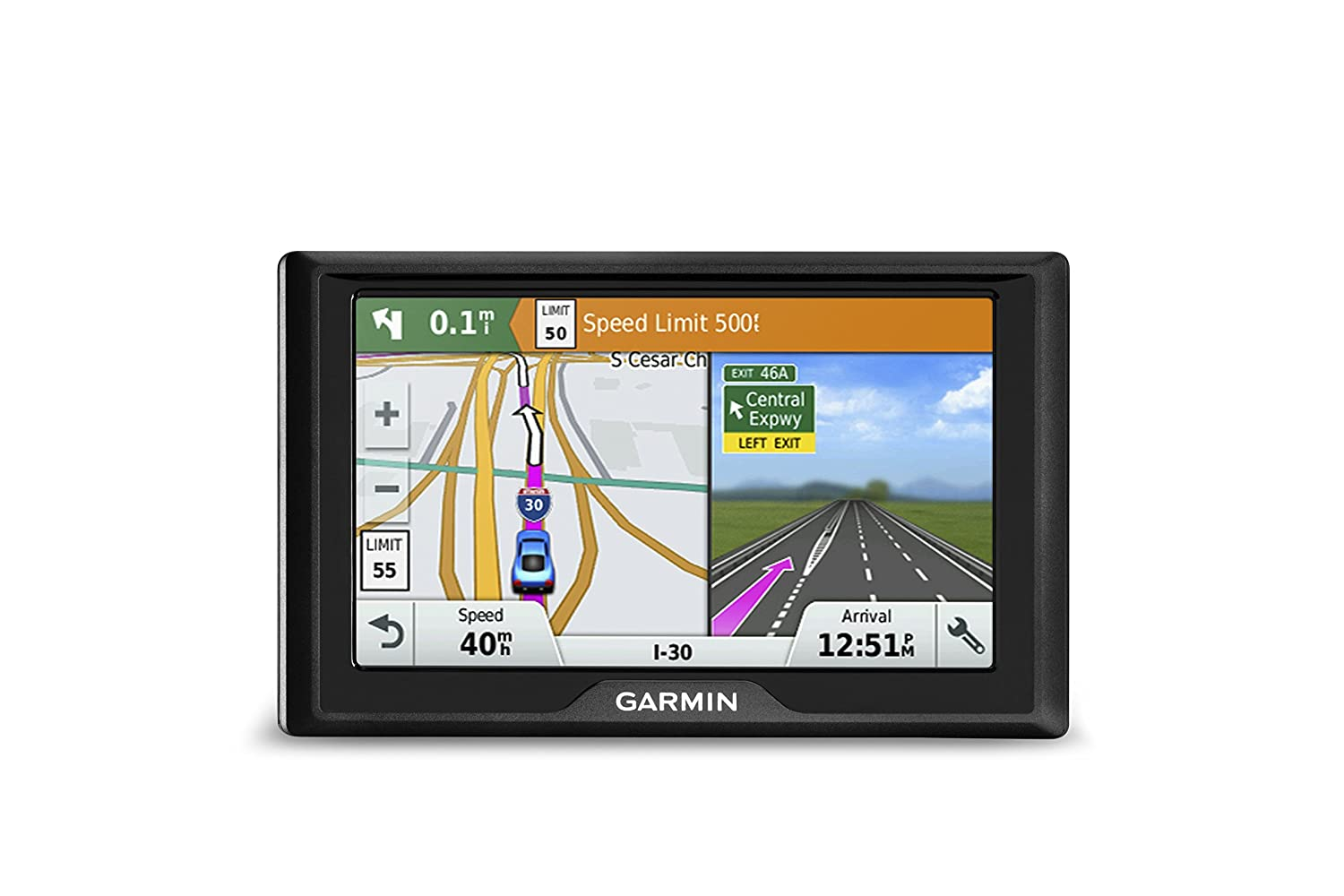 Garmin Drive 50 USA GPS Navigator System with Spoken Turn-By-Turn Directions, Direct Access, Driver Alerts, and Foursquare Data
