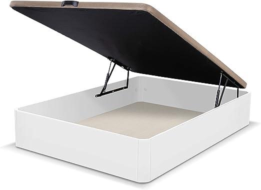 duehome Luxury - Canapé somier abatible Dormitorio, Base tapizada en Tejido 3D, Beige, MDF, Cama de Color Blanco, Medidas: 135 x 190 cm de Largo