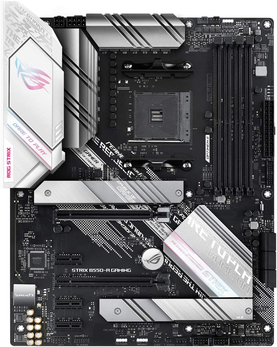 ASUS AMD B550 Ryzen AM4 Gaming ATX motherboard with PCIe® 4.0, teamed power stages, Intel® 2.5Gb Ethernet, dual M.2 with heatsinks, SATA 6 Gbps, USB 3.2 Gen 2 and Aura Sync RGB