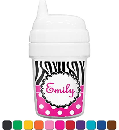 Personalized Zebra Print /& Polka Dots Toddler Sippy Cup