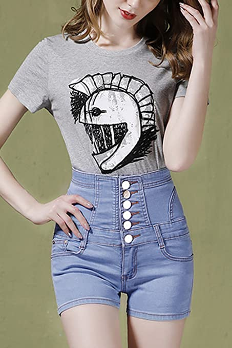 514e36e0d80 Women Casual Summer High Waist Denim Shorts Jeans Plus Size  Amazon.co.uk   Clothing