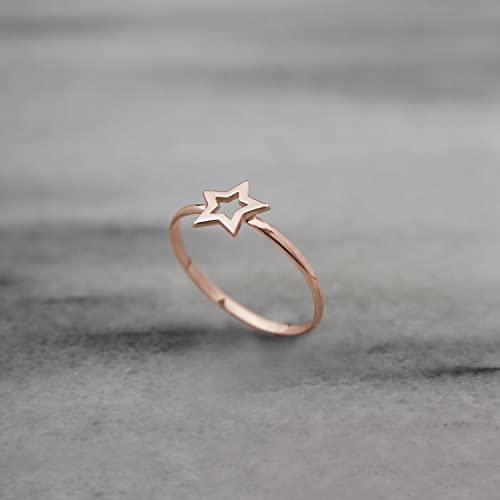Goldstar Karma Code >> Gold Star Ring 9k 14k 18k Rose Gold Ring Tiny Star Ring Solid