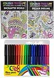 Colour Therapy - Album anti-stress per adulti da colorare, con pennarelli a punta fine in feltro (Confezione da 20)
