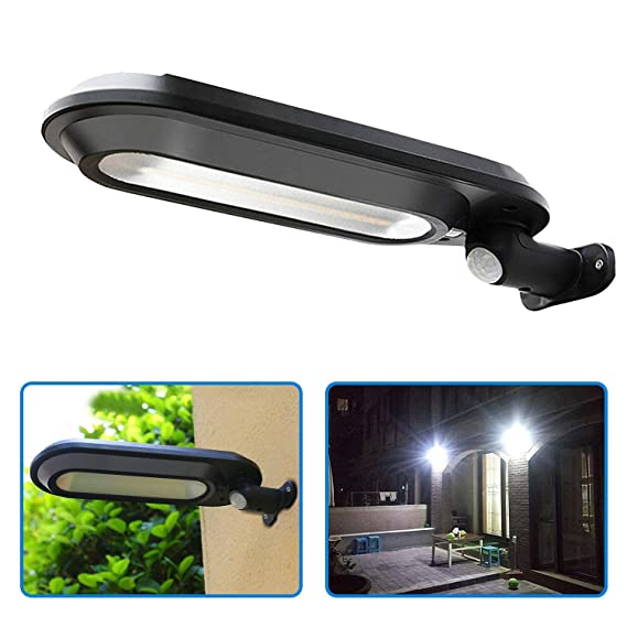 Quace Solar Security Lights, Super Bright 18 LED Outdoor Garden Light Waterproof 4 Mode Wall Lamps PIR Motion Sensor for Deck Patio Fence Walkway Gutter(Cool White, 1 Unit)