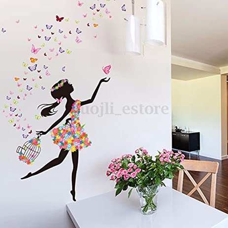 Phantomx flower girl removable wall art sticker vinyl decal kids room home mural decor