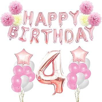 KUNGYO 4 años Oro Rosa Decoraciones de Fiesta de Cumpleaños - Happy Birthday Bandera de Globos, Globos de Aluminio Número y Estrella, Cintas ...